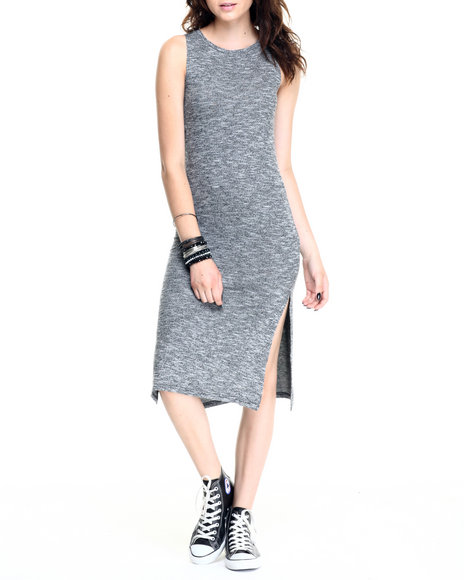 Ur-ID 220610 Fashion Lab - Women Black Brushed Marl Sweater Knit Sleeveless Dress