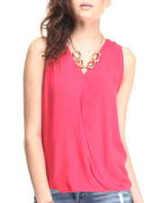 Fashion Lab - V-Neck Drape Hi Low Hem Tank Top