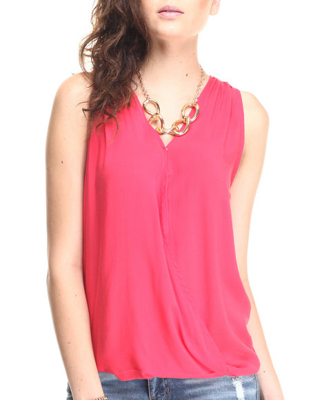 Ur-ID 220613 Fashion Lab - Women Coral V-Neck Drape Hi Low Hem Tank Top