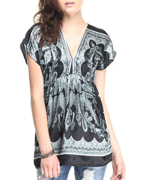 Ur-ID 220619 She's Cool - Women Black,Grey Paisley Print Satin Tunic Top