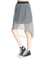Skirts - Stripe Print Chiffon Hi Low Hem Skirt