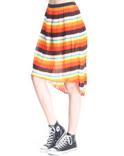 Skirts - Stripe Print Pleated Chiffon Hi Low Hem Skirt