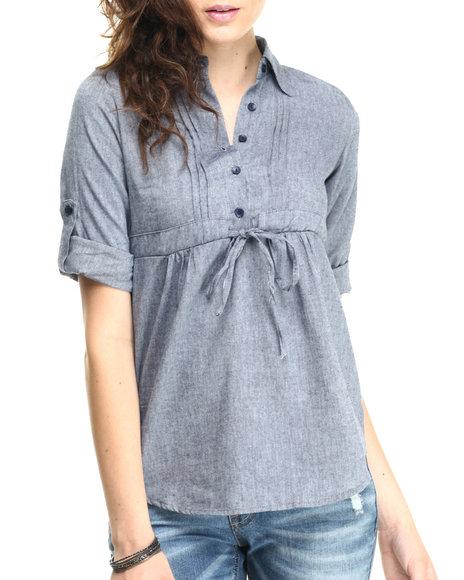 Ur-ID 220627 She's Cool - Women Blue Roll Sleeve Woven Tunic Shirt
