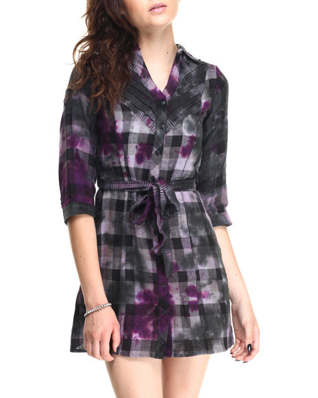 Ur-ID 220629 She's Cool - Women Black,Purple Tie Dye Plaid Woven Shirt Dress