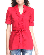 Tops - Self Belted Roll Sleeve Tunic