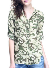 Polos & Button-Downs - Camo Print Roll Sleeve Tunic Shirt