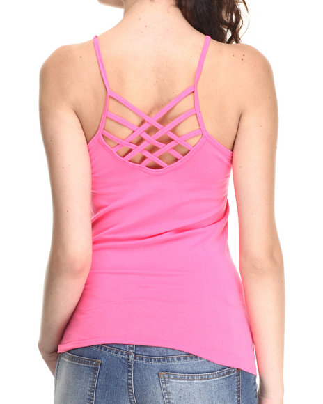 Ur-ID 220614 Fashion Lab - Women Coral Back Criss Cross Strap Basic Cami