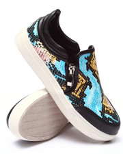 Fashion Lab - Erie Faux Snake Side Zip Slip On Sneaker