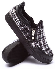 Fashion Lab - Mantoboa Tweed Side Zip Slip On Sneaker
