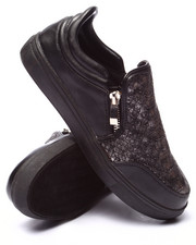 Fashion Lab - Superior Faux Snake Side Zip Slip On Sneaker