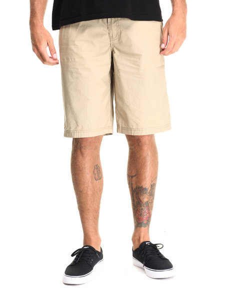 Buyers Picks - Men Khaki Flat Front Drawstring Shorts