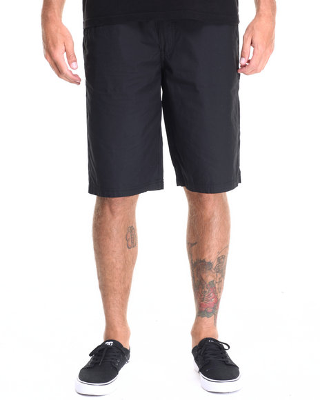 Buyers Picks - Men Black Flat Front Drawstring Shorts