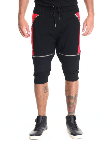 Hudson Nyc - Men Black,Red Zipper Moto 3/4 Jogger