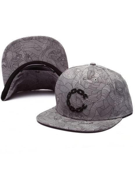 Crooks & Castles Men Linear Medua Snapback Grey