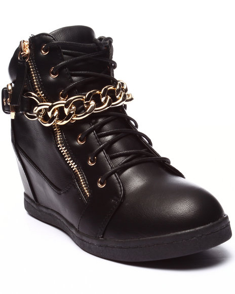 Fashion Lab - Women Black Alison Metal Chain Sneaker - $41.99