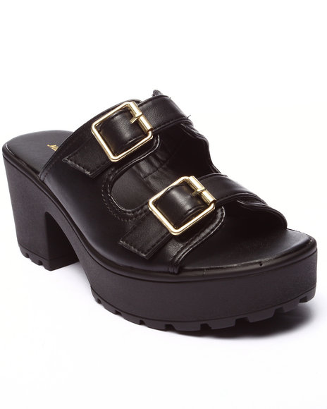 Ur-ID 220700 Fashion Lab - Women Black Kenny Double Buckle Strap Heeled Platform Sandal
