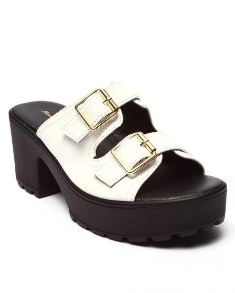 Ur-ID 220701 Fashion Lab - Women White Kenny Double Buckle Strap Heeled Platform Sandal