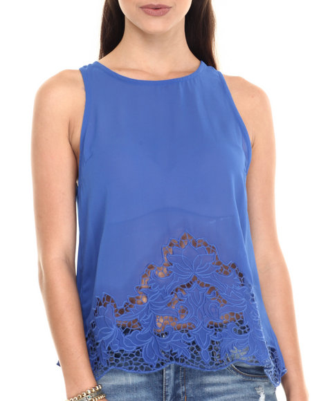 Ur-ID 220611 Fashion Lab - Women Blue Clear Chiffon Sleeveless Tank Top