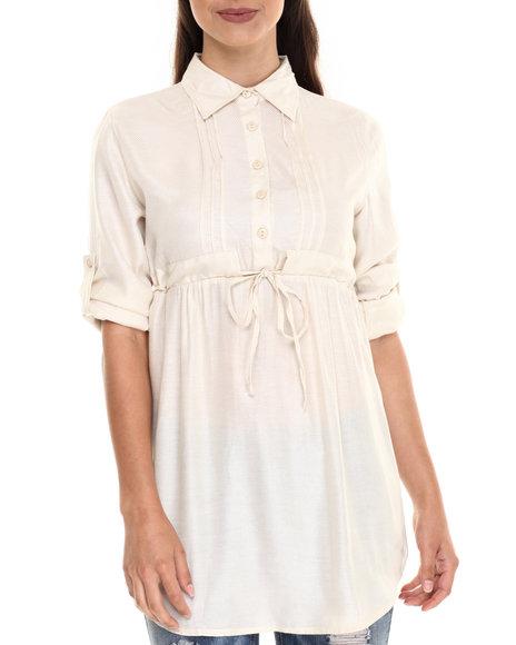 Ur-ID 220625 She's Cool - Women White Roll Sleeve Tunic Shirt
