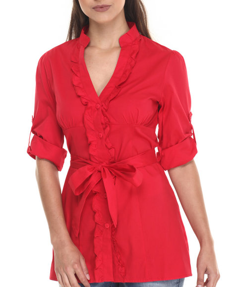 Ur-ID 220631 She's Cool - Women Red Self Belted Roll Sleeve Tunic