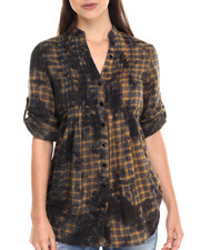 Women - Tie Dye Plaid Woven Tunic Shirt