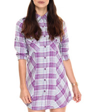Women - Yarn Dye Plaid Tunic Shirt