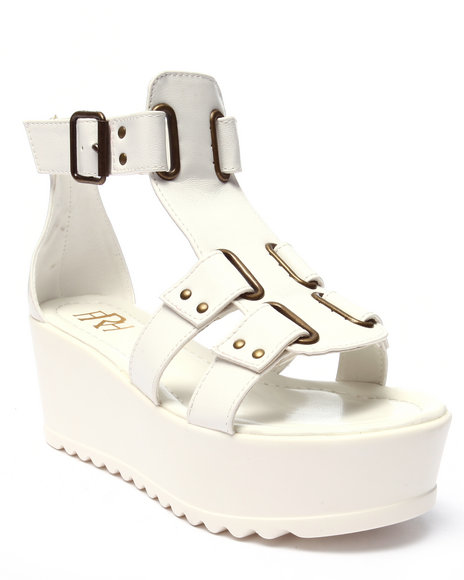 Ur-ID 220705 Fashion Lab - Women White Angela Buckle Strap Platform Sandal