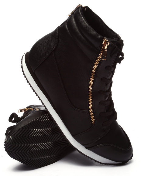 Ur-ID 220706 Fashion Lab - Women Black Stella Zipper Sneaker