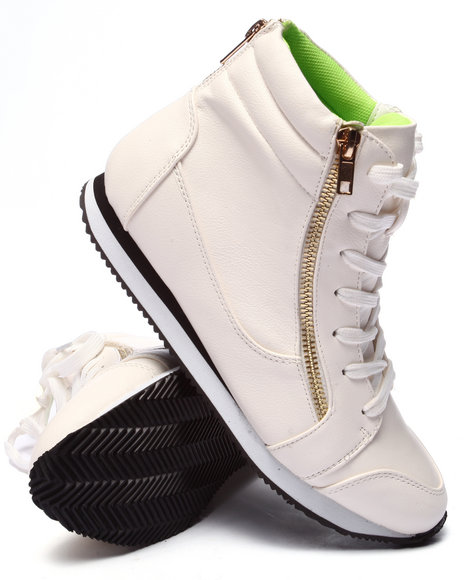 Ur-ID 220707 Fashion Lab - Women White Stella Zipper Sneaker