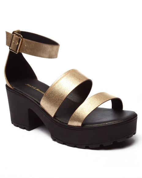 Ur-ID 220710 Fashion Lab - Women Gold Kenny Ankle Strap Heeled Platform Sandal