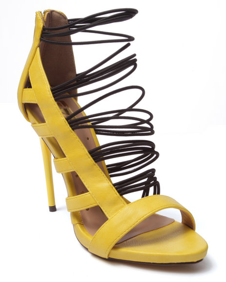 Ur-ID 220712 Fashion Lab - Women Yellow Giselle Strappy Cage Heel