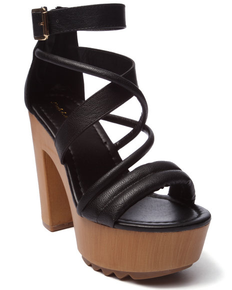 Ur-ID 220713 Fashion Lab - Women Black Benjamin Strappy Heeled Platform Sandal