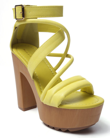 Ur-ID 220714 Fashion Lab - Women Yellow Benjamin Strappy Heeled Platform Sandal
