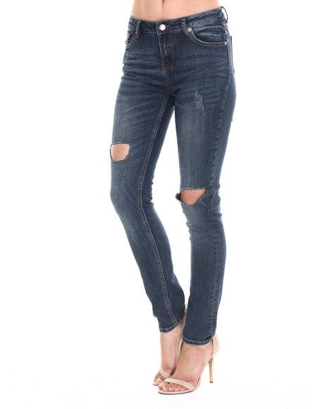 Ur-ID 220682 Bianco Jeans - Women Medium Wash Premium Destructed Skinny Jean