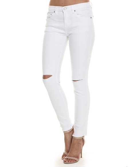 Ur-ID 220683 Bianco Jeans - Women White Premium Destructed Released Hem Skinny Jean
