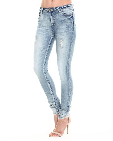 Ur-ID 220684 Bianco Jeans - Women Medium Wash Premium Distressed Skinny Jean W/Stitch Detail