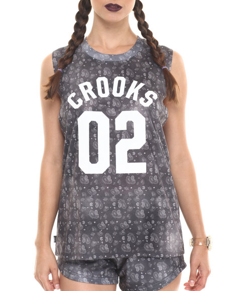 Ur-ID 220716 Crooks & Castles - Women Black Squad Love Sleeveless Tee