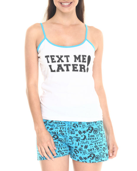 Ur-ID 220720 DRJ Lingerie Shoppe - Women Turquoise Text Me Later Cotton Short Set by DRJ Lingerie Shoppe