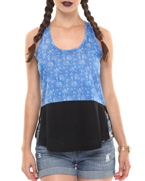 Ur-ID 220723 Crooks & Castles - Women Blue Squad Love Lounge Tank