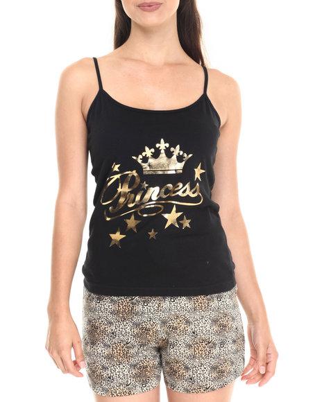 Ur-ID 220778 DRJ Lingerie Shoppe - Women Black Princess Animal Cotton Pj Short Set