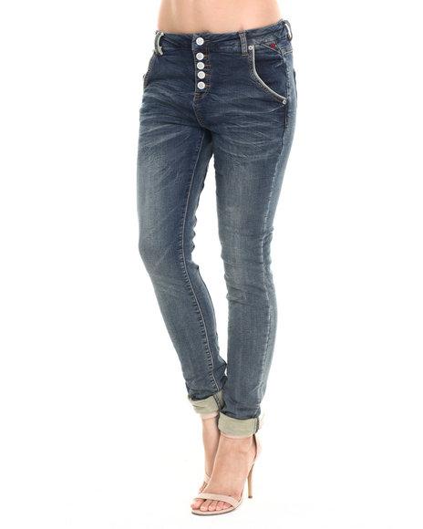 Ur-ID 220760 Bianco Jeans - Women Medium Wash Premium Stretch Boyfriend Skinny Jean
