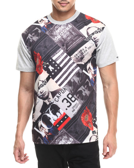 Ur-ID 220781 Crooks & Castles - Men Black Textbook T-Shirt