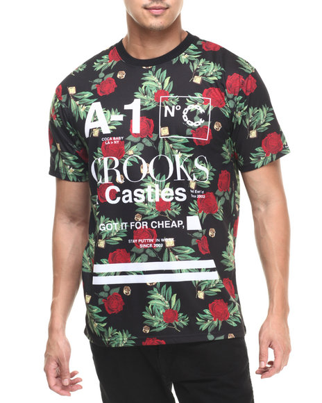 Ur-ID 220794 Crooks & Castles - Men Black A1 Floral T-Shirt