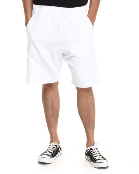 Hustle Gang - Men White Tonal Chief Shorts