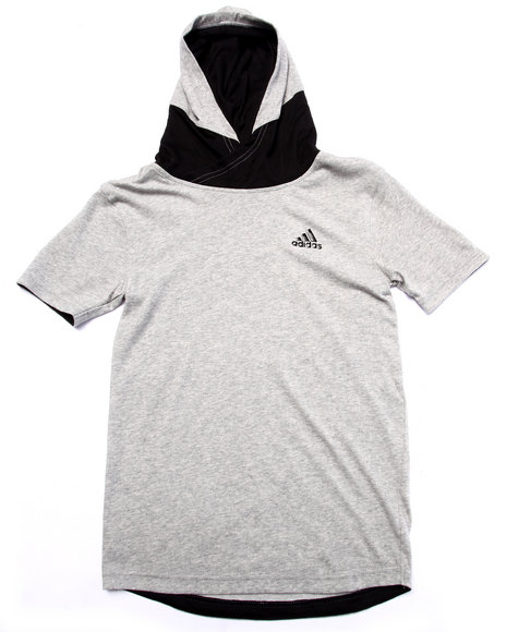 Adidas - Boys Grey Adidas Basketball Black Ice S/S Hoody (8-20)
