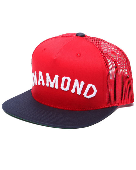 Ur-ID 223432 Diamond Supply Co - Men Red Diamond Arch Snapback Cap