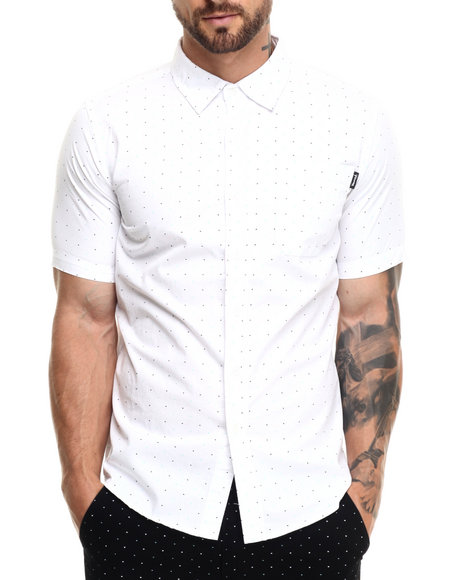 Ur-ID 220850 Diamond Supply Co - Men White Micro Diamond S/S Button-Down