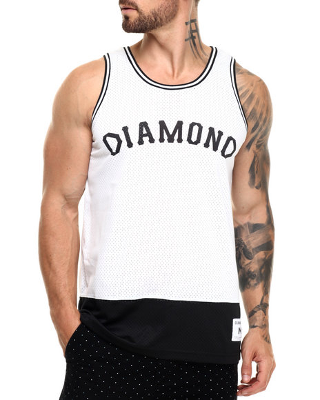 Ur-ID 220853 Diamond Supply Co - Men White Diamond Arch Basketball Jersey