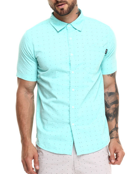 Ur-ID 220889 Diamond Supply Co - Men Teal Micro Diamond S/S Button-Down