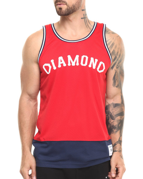 Ur-ID 220825 Diamond Supply Co - Men Red Diamond Arch Basketball Jersey